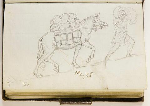 Un mulet chargé de ballot, précédé d'un homme portant un sac sur les épaules