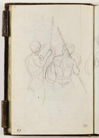 Etudes d'hommes nus, casqués, vus de dos
