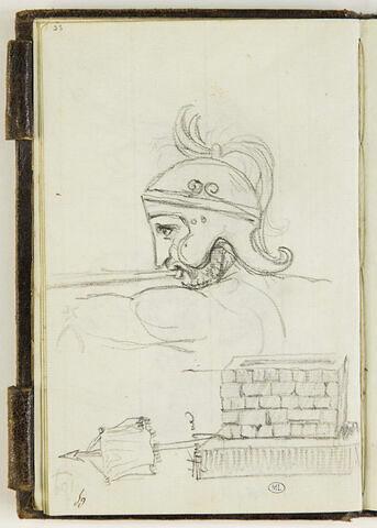 Tête d'homme casqué soufflant dans une trompe ; un autel ; un étendard