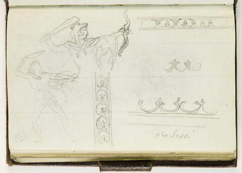 Deux études d'une figure ; motifs décoratifs et annotations manuscrites