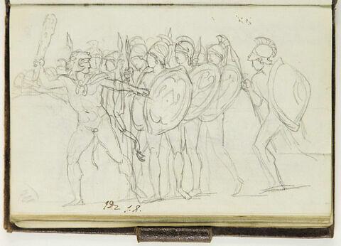 Troupe d'hommes nus, casqués, armés
