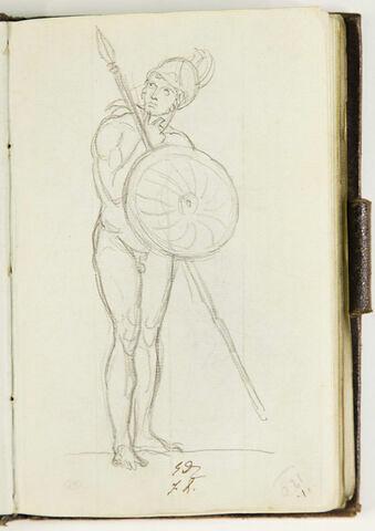 Homme nu, casqué, armé d'une lance et d'un bouclier