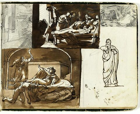 Etudes de figure et de compositions d'après l'antique ; deux paysages