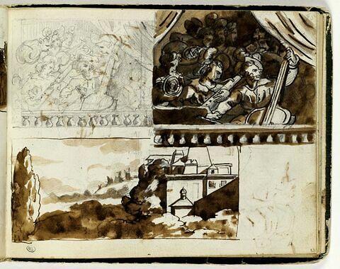 Etudes de compositions encadrées d'après l'antique ; paysage