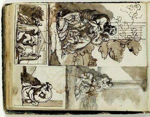 Etudes de compositions encadrées d'après l'antique