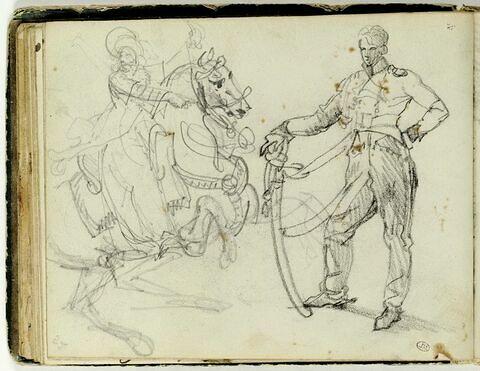 Soldat en pied ; cavalier