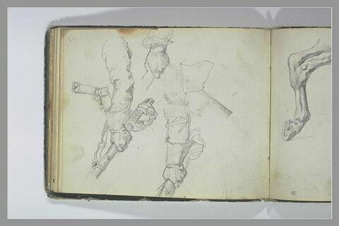 Etudes de main ou de bras tenant un sabre