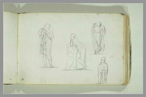 Quatre études d'après des statues ou des bas-reliefs antiques