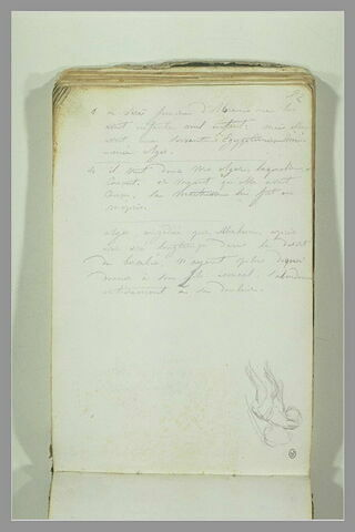 Figure ; note manuscrite sur l'histoire d'Agar et Ismaël