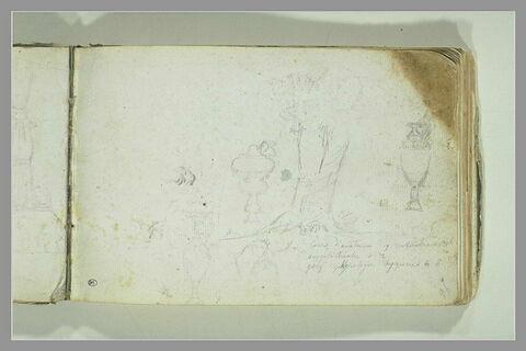 Croquis divers et note manuscrite