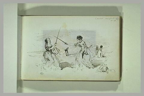 Deux femmes combattant à l'épée