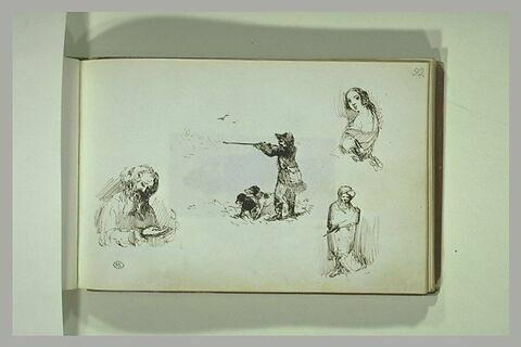 Chasseur, homme barbu, et deux autres figures