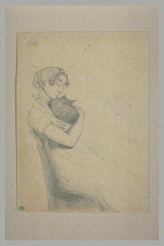 Jeune fille dormant, tenant un chat contre sa poitrine