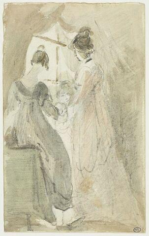 Deux femmes et une fillette près d'une fenêtre
