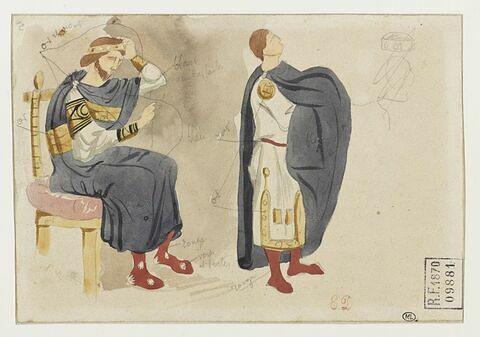 Deux études d'hommes en costume byzantin