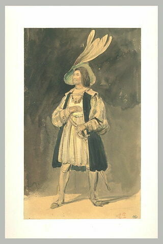 Acteur debout, coiffé d'un grand chapeau à plumes
