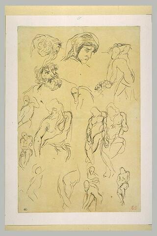 Etudes de personnages nus et de têtes