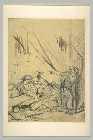 Femme ouvrant une porte et menaçant un homme dans son lit