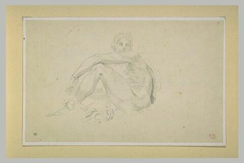 Jeune homme nu, assis sur une draperie, tourné vers la gauche