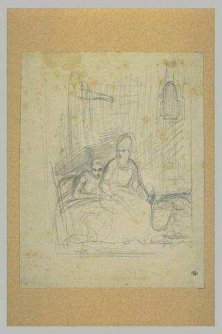 Couple d'orientaux assis sur un divan