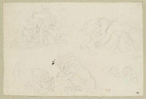 Deux hommes luttant, lions dévorant un caïman et tuant une chèvre