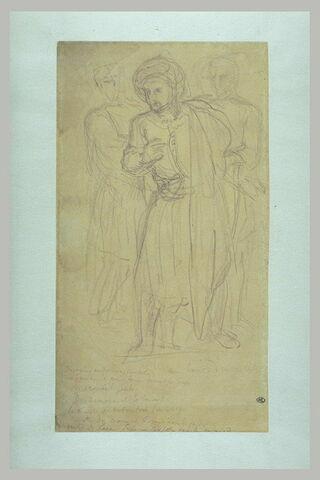 Groupe de trois hommes debout, vêtus à l'orientale