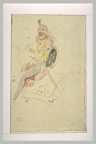 Etudes de personnages orientaux, cavaliers et guerrier à pied