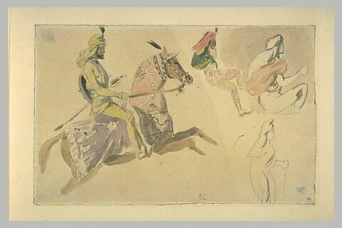 Cavalier oriental et trois figures en costumes orientaux