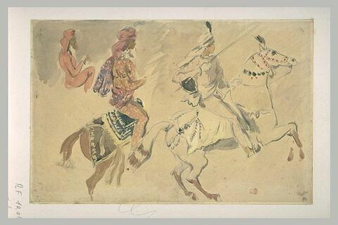 Trois études de cavaliers orientaux allant vers la droite