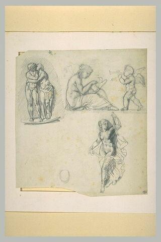 Feuille d'études d'après l'antique, dont l'Amour et Psyché