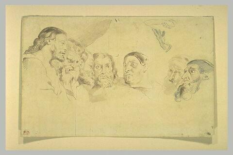 Sept têtes d'hommes d'après le Christ chez Simon le Pharisien