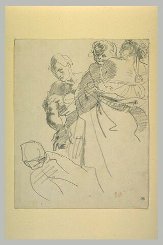 Groupe de personnages dont une femme tenant un enfant