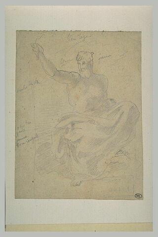 Homme assis, à demi nu, levant le bras droit
