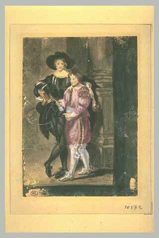 Deux jeunes garçons en costume du XVIIè siècle