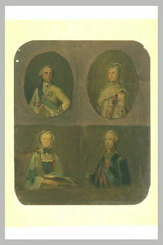 Quatre études d'après des portraits français du XVIIIè siècle