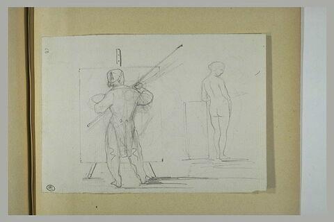 Peintre devant un chevalet et une femme posant nue