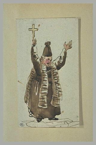 Caricature prêtre, debout, brandissant un crucifix
