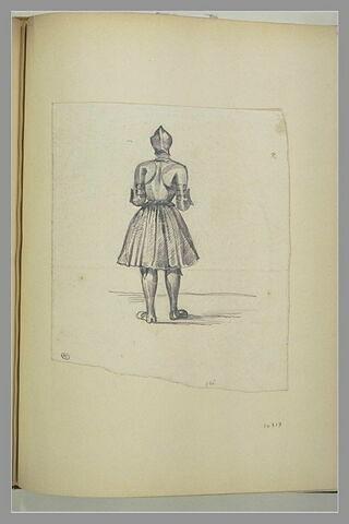 Guerrier médiéval, en armure, de dos