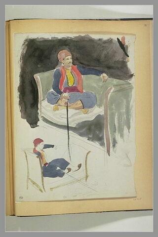 Deux études de turc assis sur un canapé