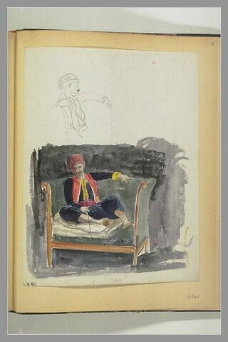 Turc assis sur un canapé : turc, en buste