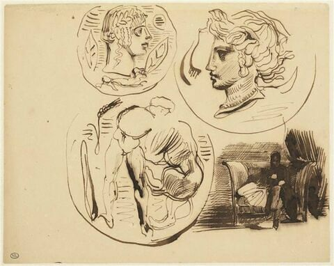 Etude d'après trois médailles antiques ; figure assise dans un intérieur