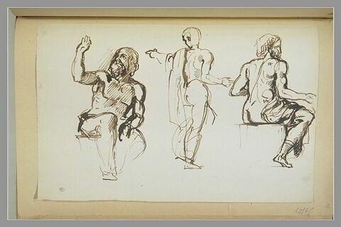Trois académies d'hommes nus drapé