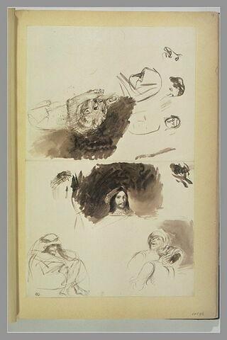 Figure en costume renaissance ; arabes ; lion ; têtes