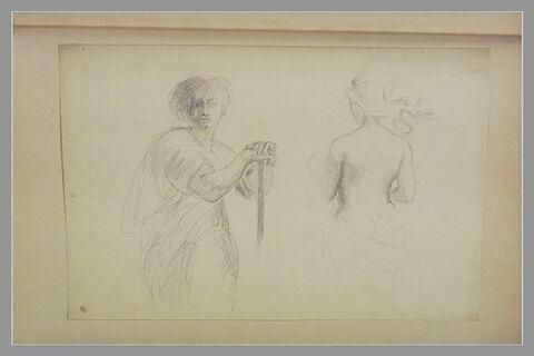 Femme, drapée, debout, les mains sur un bâton ; Mercure, de dos