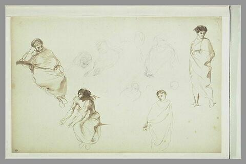 Etudes de figures à demi-nues ou drapées