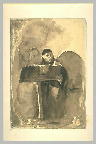 Moine chantant, assis au lutrin, un autre moine derrière lui