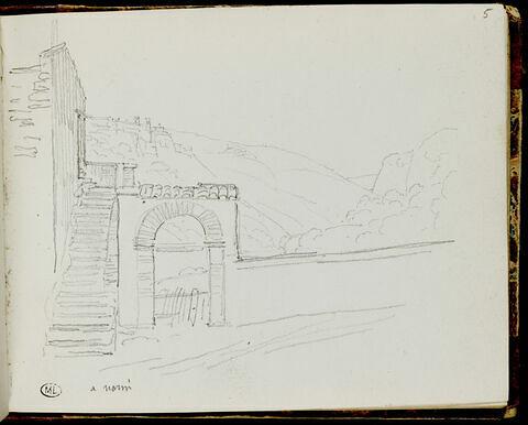 Paysage à Narni et notes manuscrites