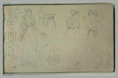 Etudes de costumes féminins premier empire, notes manuscrites, numérotation