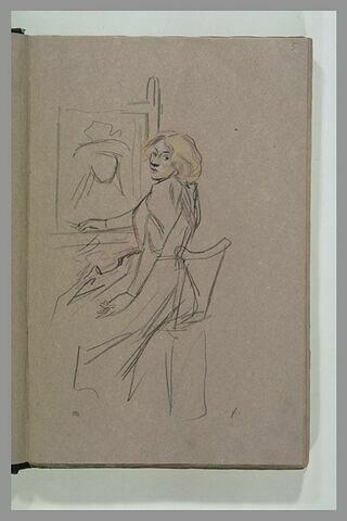 Femme assise, devant une toile, se retournant