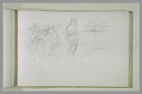 Soldat (?) tournant le dos à des figures assises derrière lui